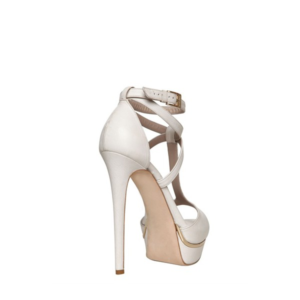 White T Strap Sandals Ankle Strap Open Toe Platform Stiletto Heels image 2