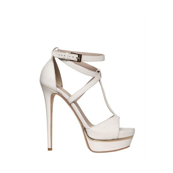 White T Strap Sandals Ankle Strap Open Toe Platform Stiletto Heels image 3