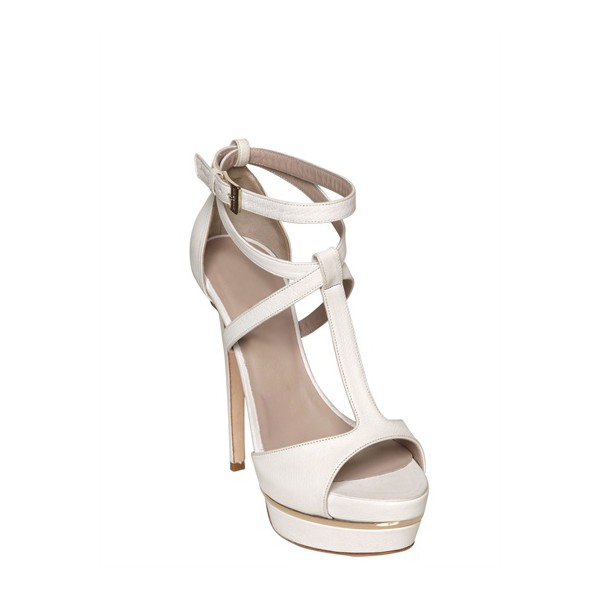 White T Strap Sandals Ankle Strap Open Toe Platform Stiletto Heels image 4