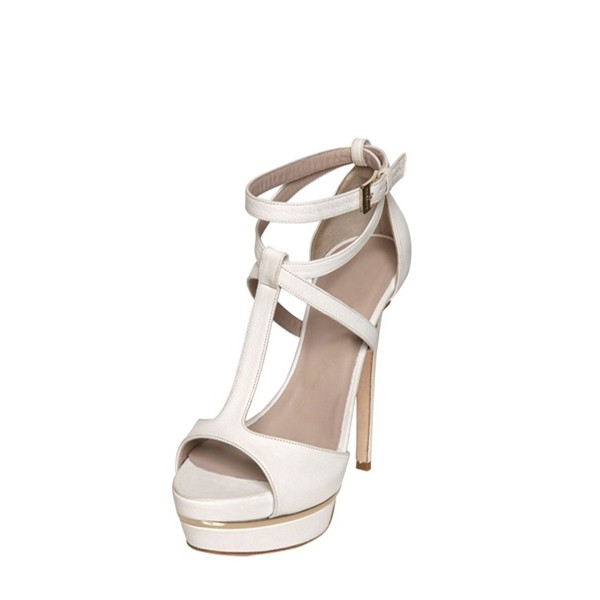 White T Strap Sandals Ankle Strap Open Toe Platform Stiletto Heels image 1