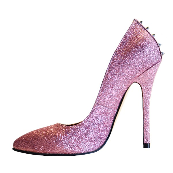 Pink Sparkly Heels 5 Inch Stilettos Pointy Toe Pumps for Party ...