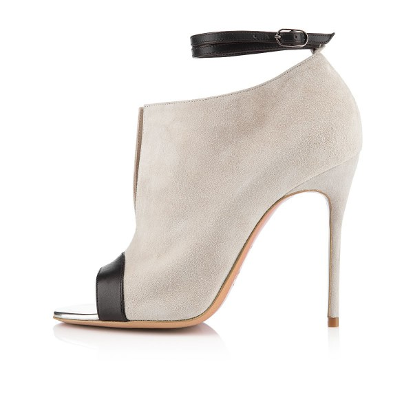 Salome Beige Ankle Strap Boots image 4