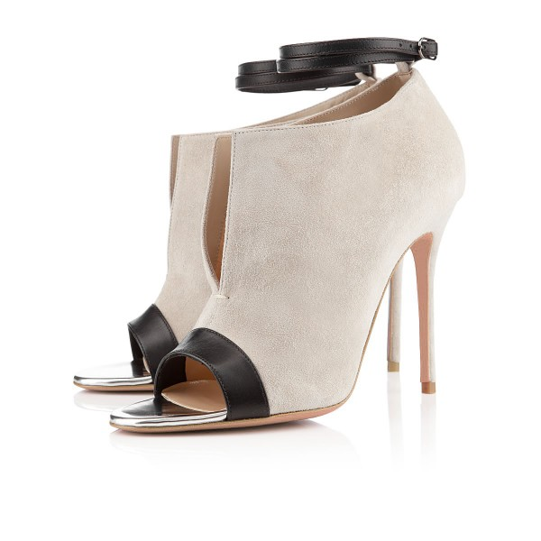 Salome Beige Ankle Strap Boots image 1
