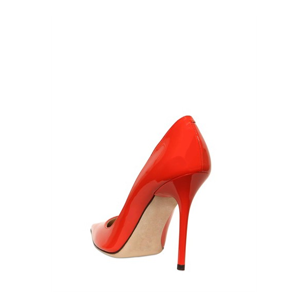 Women's Red Stiletto Heels Pointy Toe Patent Leather Sexy Office Heels image 3