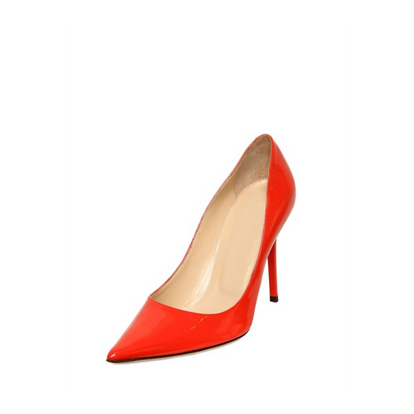 Women's Red Stiletto Heels Pointy Toe Patent Leather Sexy Office Heels image 1