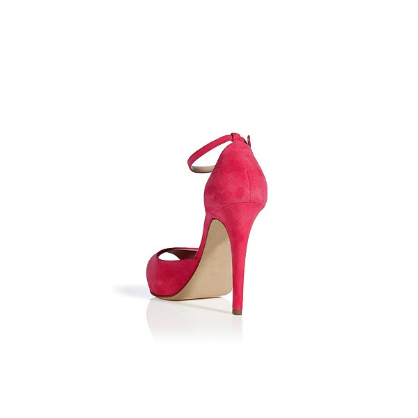 Women's Coral Red Peep Toe Ankle Strap Heels Pumps image 2