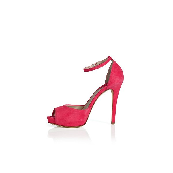 Women's Coral Red Peep Toe Ankle Strap Heels Pumps image 3