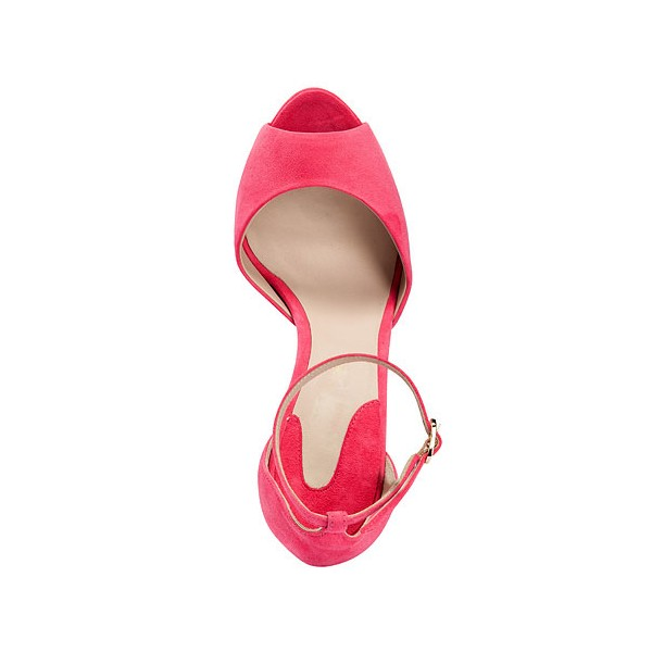 Women's Coral Red Peep Toe Ankle Strap Heels Pumps image 4