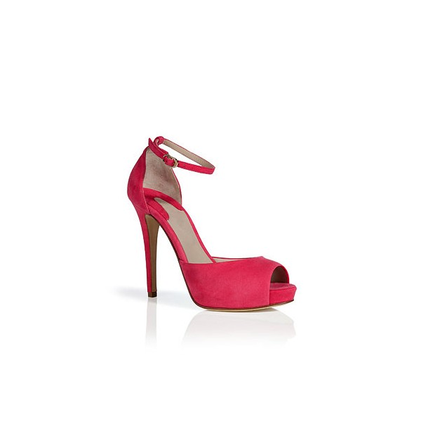Women's Coral Red Peep Toe Ankle Strap Heels Pumps image 5