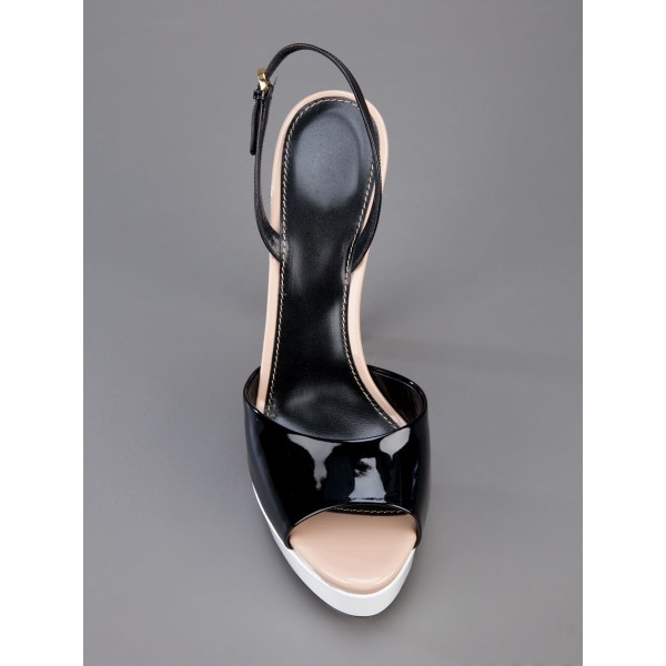 Black Patent Leather Slingback Heels Peep Toe Chunky Heel Sandals image 3