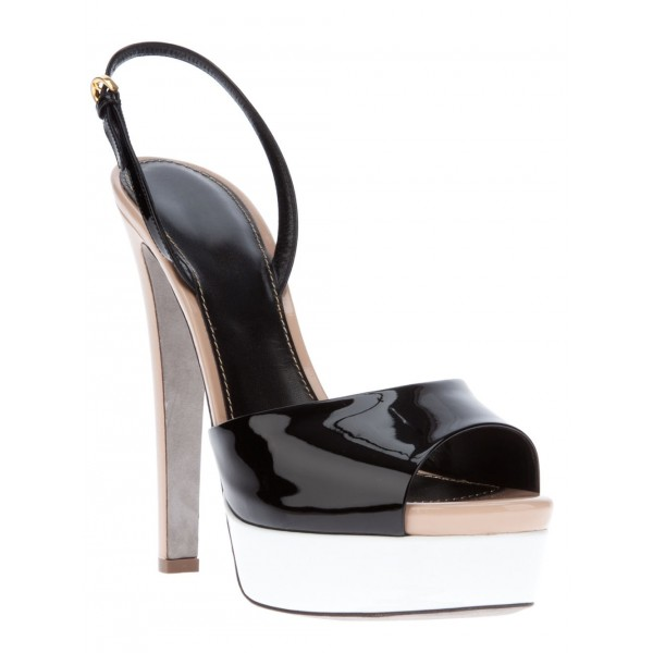 Black Patent Leather Slingback Heels Peep Toe Chunky Heel Sandals image 4