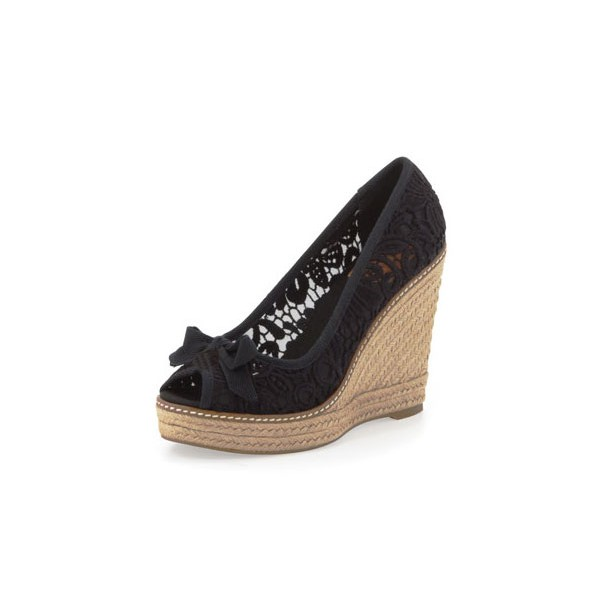 Black Espadrille Wedges Peep Toe Lace Heels Platform Pumps image 1
