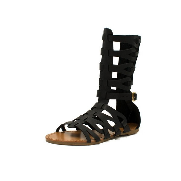 Black Gladiator Sandals Open Toe Comfortable Flats for Women image 1