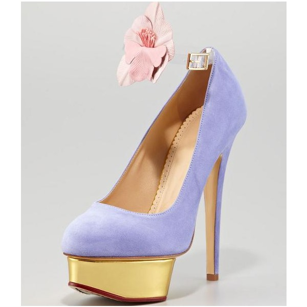 Women's Viola Purple Low-cut Uppers Stiletto Pumps  Platform Heels image 2