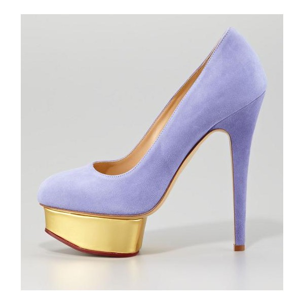 Women's Viola Purple Low-cut Uppers Stiletto Pumps  Platform Heels image 1