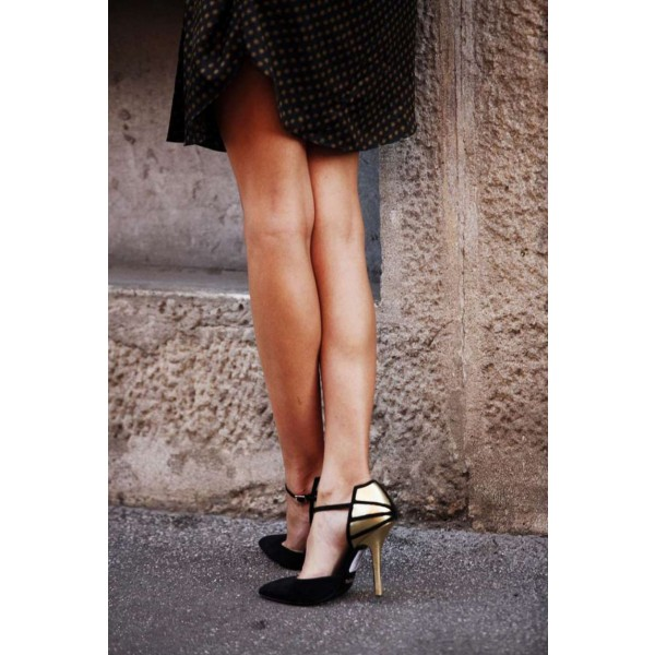 Black and Gold Closed Toe Sandals Ankle Strap Stiletto Heels image 2