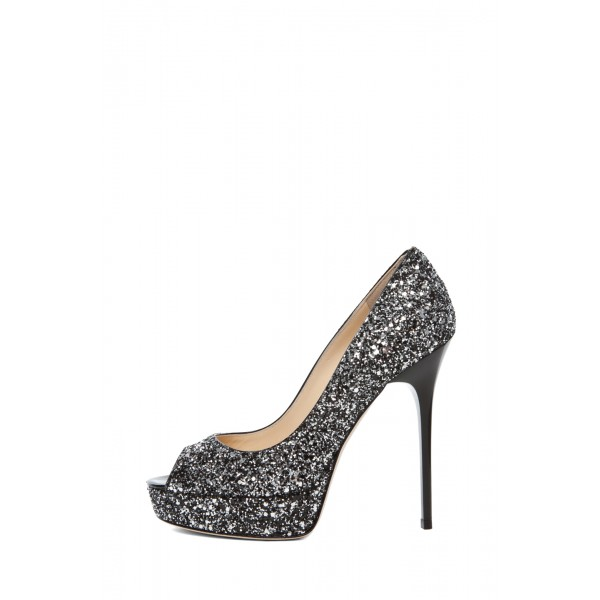 Women's Black Dress Shoes Peep Toe Sequined Platform Heels Pumps  image 2