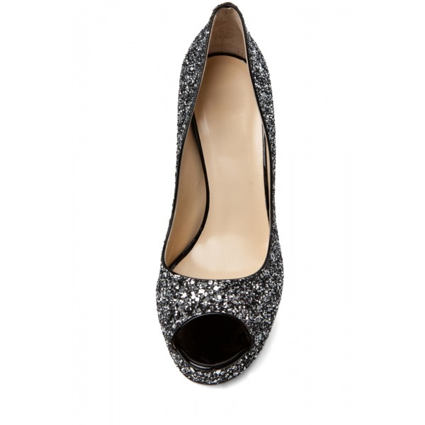 Women's Black Dress Shoes Peep Toe Sequined Platform Heels Pumps  image 4