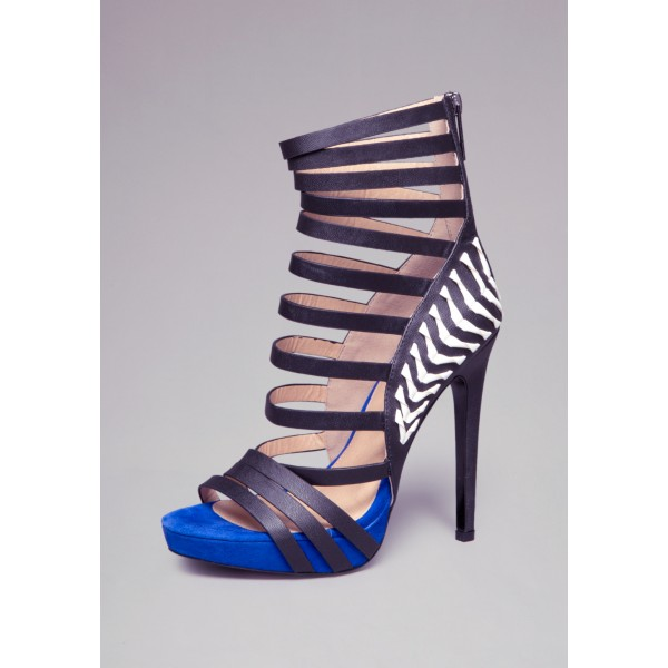 Royal Blue and Black Vegan Shoes Open Toe Platform Stiletto Heels image 1