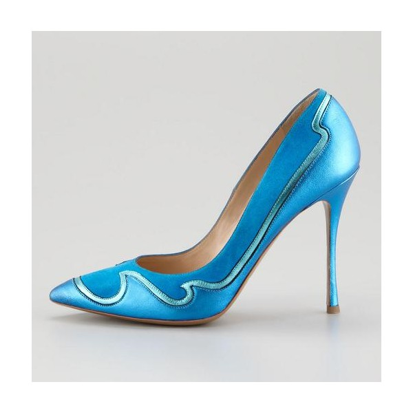 Women's Blue Pointed Toe Low-cut Uppers Stiletto Heels Dress Shoes image 2