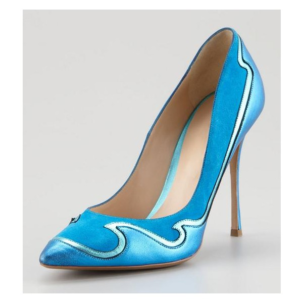 Women's Blue Pointed Toe Low-cut Uppers Stiletto Heels Dress Shoes image 1