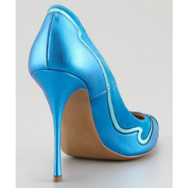 Esther Blue Pointed Toe Low-cut Uppers Stiletto Heel Dress Shoes ...