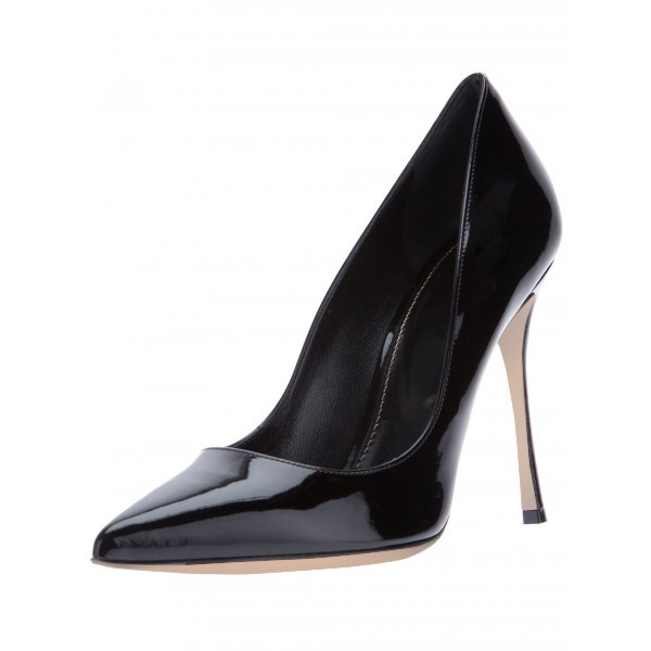 Black Stiletto Heels Pumps Commuting Low-cut Uppers Office Shoes image 1