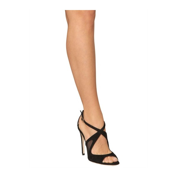 Black Office Sandals Stiletto Heels Cross-over Strap Dress Shoes image 2