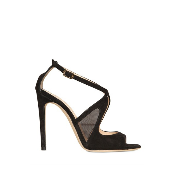 Black Office Sandals Stiletto Heels Cross-over Strap Dress Shoes image 3