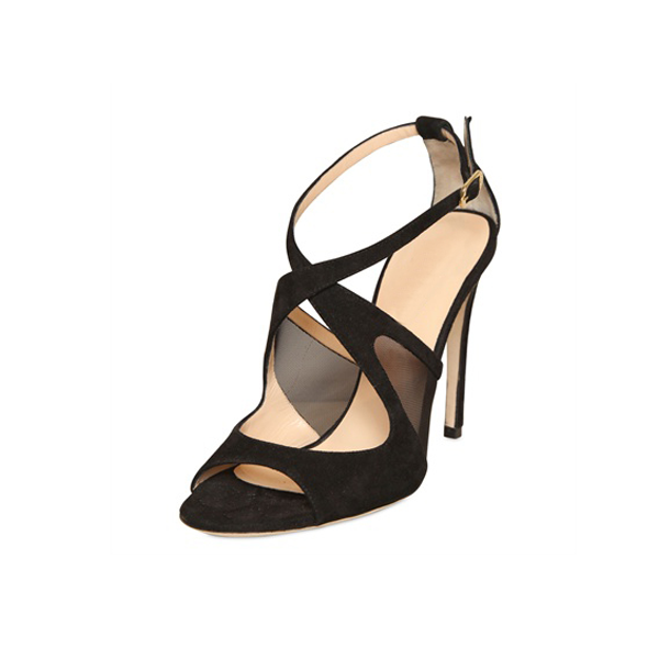 Black Office Sandals Stiletto Heels Cross-over Strap Dress Shoes image 1