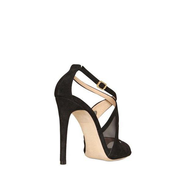 Black Office Sandals Stiletto Heels Cross-over Strap Dress Shoes image 4