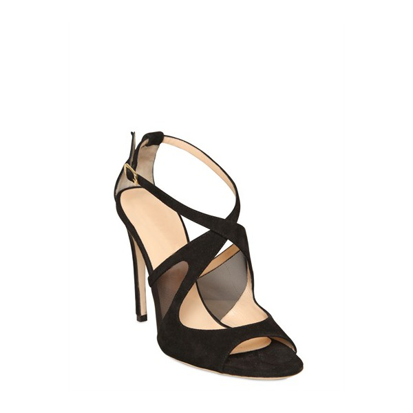 Black Office Sandals Stiletto Heels Cross-over Strap Dress Shoes image 5