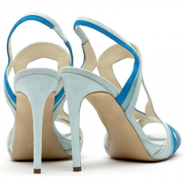 Light Blue Slingback Heels Peep Toe Platform Stiletto Heel Sandals image 2
