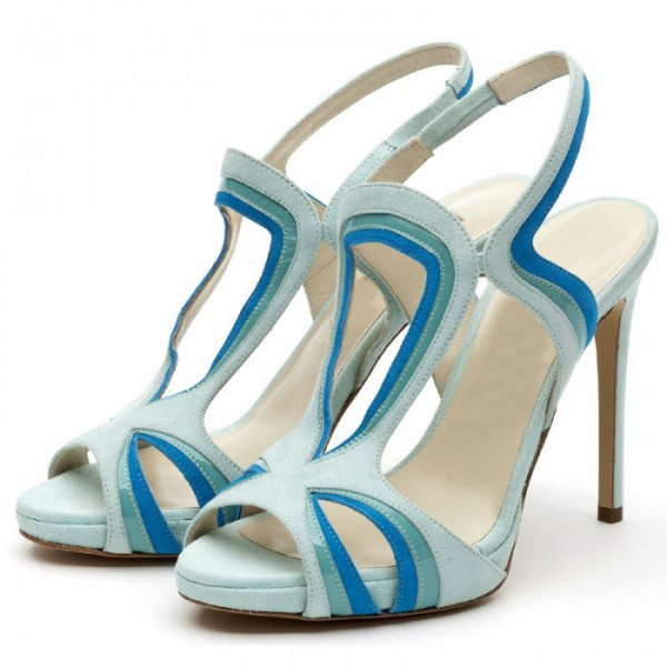 Light Blue Slingback Heels Peep Toe Platform Stiletto Heel Sandals image 1