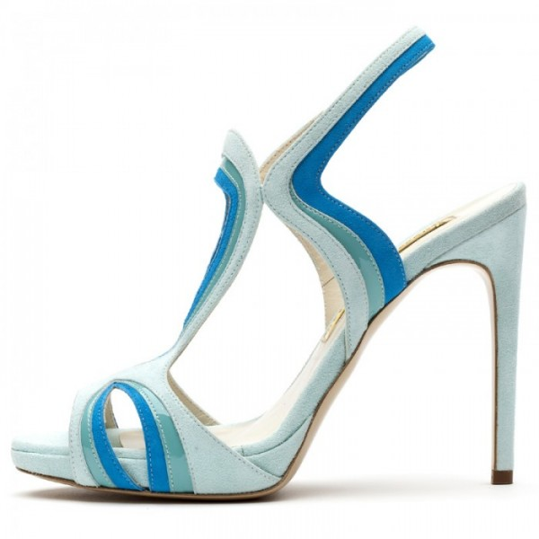 Light Blue Slingback Heels Peep Toe Platform Stiletto Heel Sandals image 3