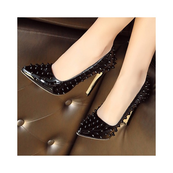 Women's Black Pointed Toe Rivets Low-cut Uppers Stiletto Heels Shoes image 1
