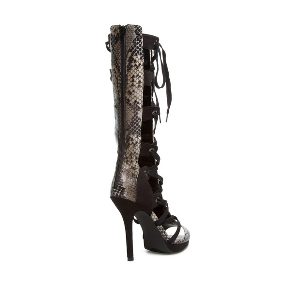 Women's Leila Black Python Strappy Heels Lace-up Stiletto Heel Sandals image 2