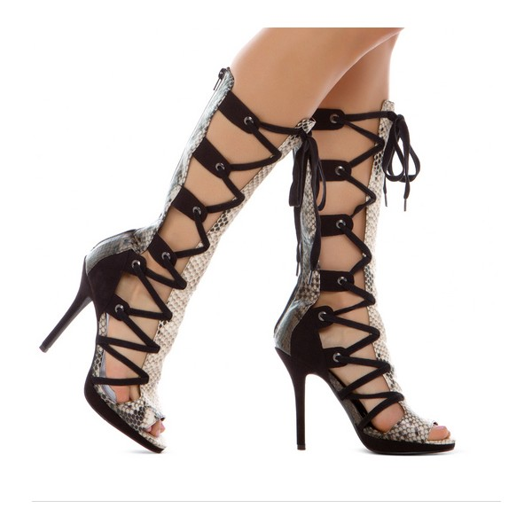 Women's Leila Black Python Strappy Heels Lace-up Stiletto Heel Sandals image 3