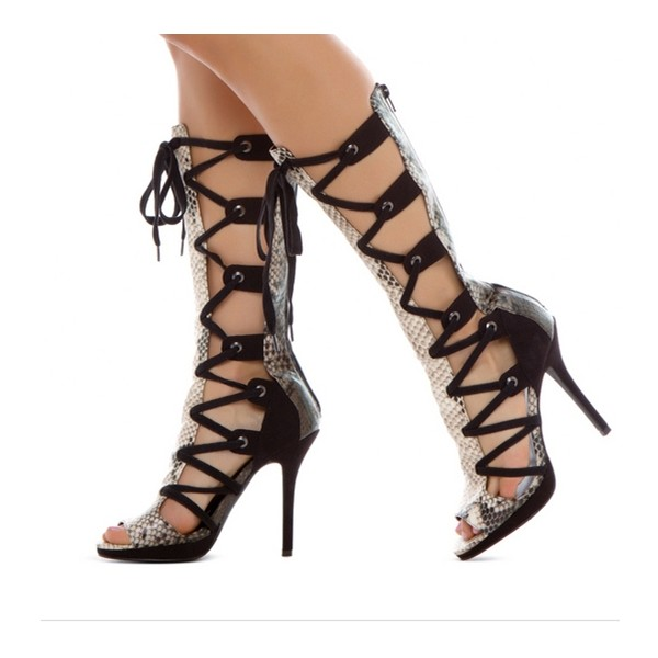 Women's Leila Black Python Strappy Heels Lace-up Stiletto Heel Sandals image 1