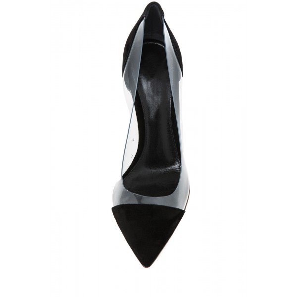 Women's Leila Black Stiletto Heels Pointy Toe Elegant Clear Heels Pumps image 2