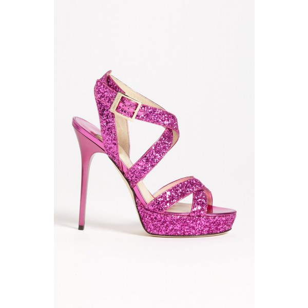 Women's Magenta Glitter Platform Stiletto Heel Cross-over Wedding Sandals  image 3