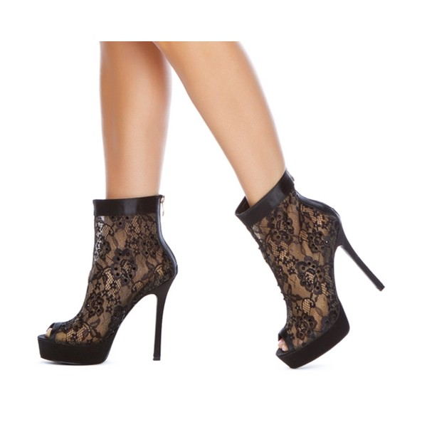 Women's Black Fashion Boots Platform Lace Stiletto Heel Ankle Boots image 1