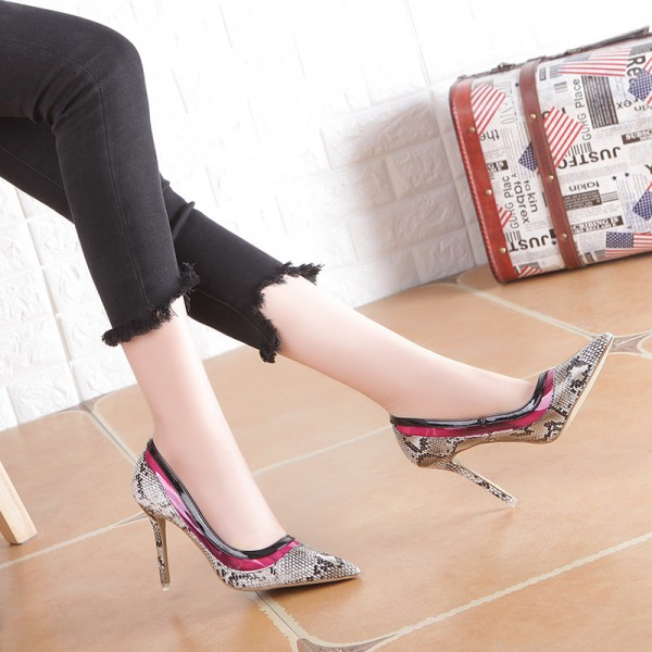 Grey 4 Inch Heel Python Pointy Toe Stiletto Heels Pumps image 4