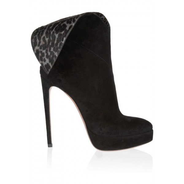 Black Ankle Booties Leopard-print Suede 4 Inch Stiletto High Heels image 3