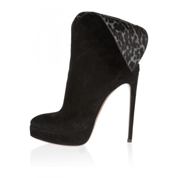 Black Ankle Booties Leopard-print Suede 4 Inch Stiletto High Heels image 1