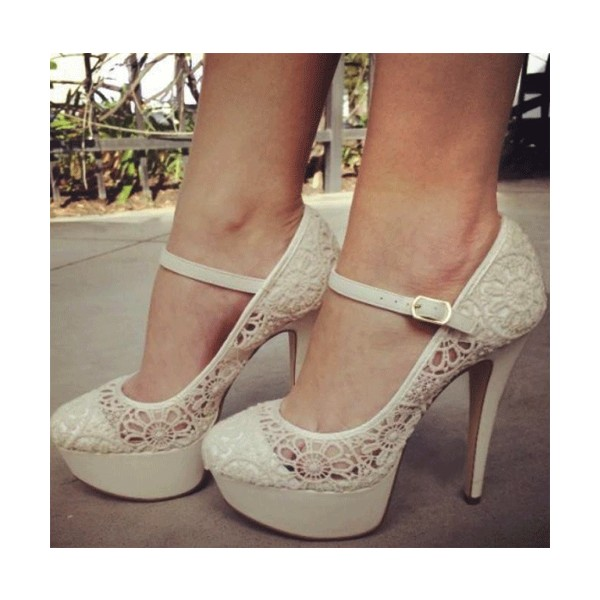 Ivory Lace Heel Mary Jane Pumps with Platform image 1