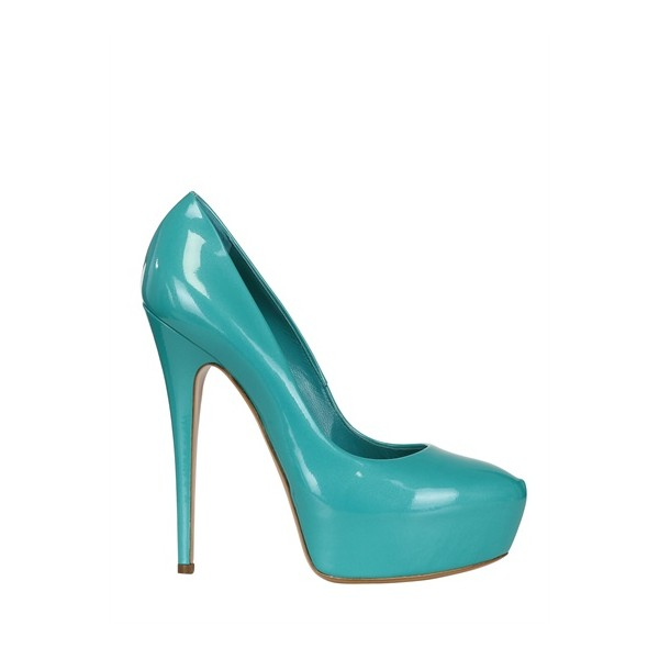 Turquoise Heels Patent Leather Platform Chunky Heel Pumps US Size 3-15 image 3