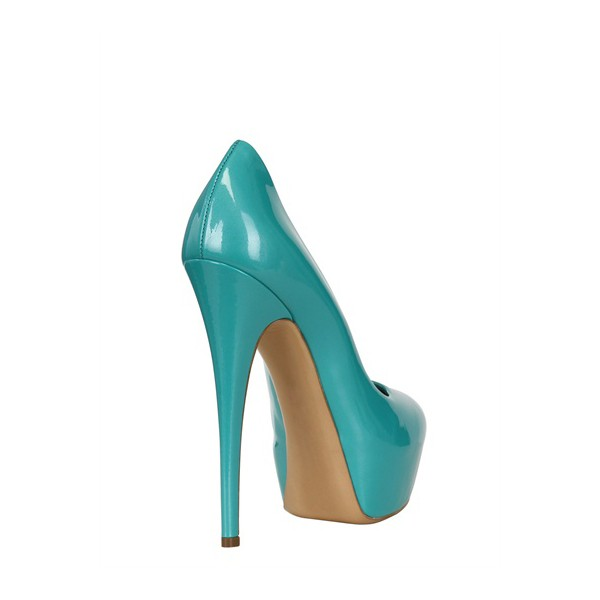 Turquoise Heels Patent Leather Platform Chunky Heel Pumps US Size 3-15 image 4