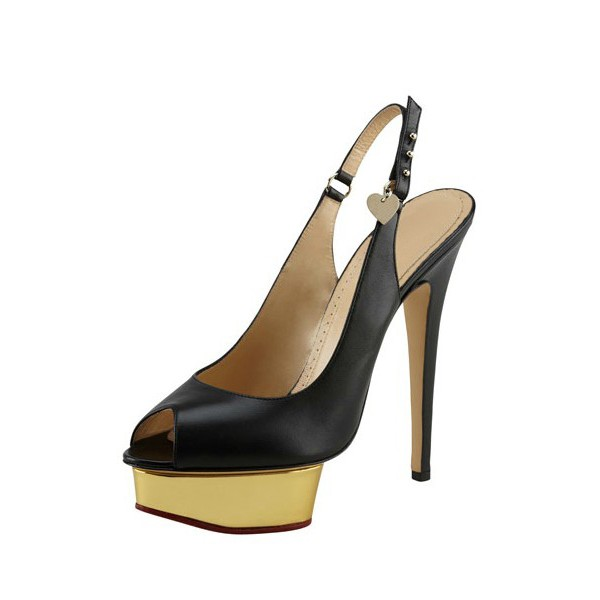 Black and Gold Slingback Pumps Peep Toe Stiletto Heels with Platform image 1