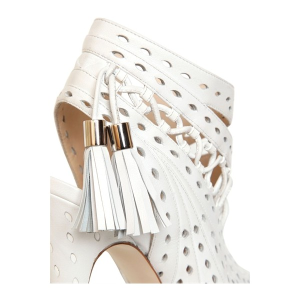 White Tassel Stilettos Platform Heels Peep Toe Hollow-out Summer Boots image 2